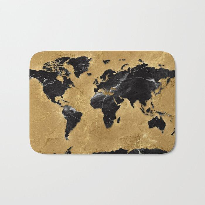 world map marble gold 2 Bath Mat
