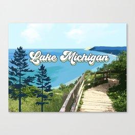 Lake Michigan Retro Canvas Print