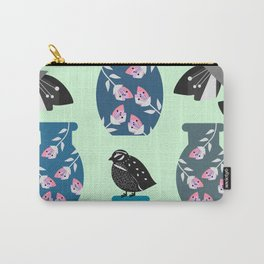 Quail, flowers and vases Carry-All Pouch