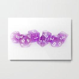 Purple Gaming Dice Metal Print