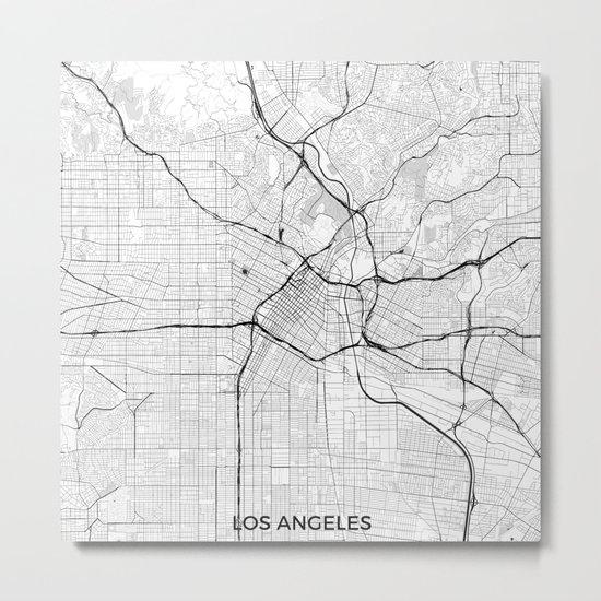 Los Angeles Map Gray Metal Print