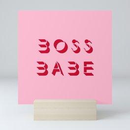Boss babe pink artwork Mini Art Print