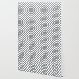 White Polka Dots with Grey Background Wallpaper