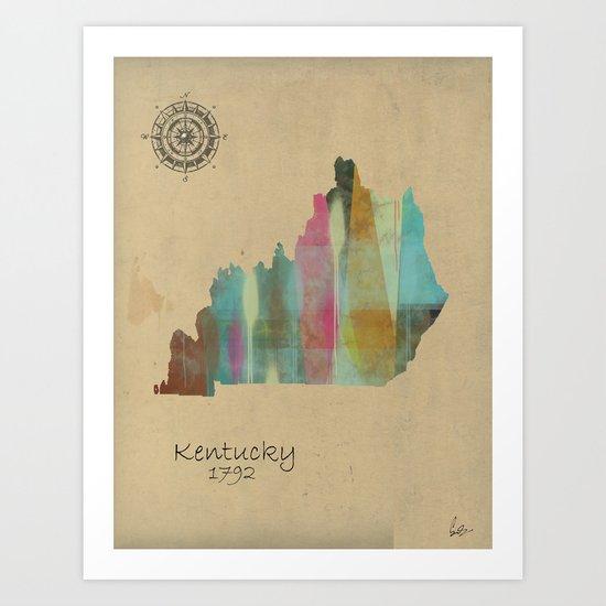 Kentucky state map  Art Print