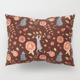 Flowers and climbing cats Pillow Sham