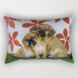 Two Puggle Puppies Snuggling in front of a Background with Hand-painted Red Flowers Rectangular Pillow