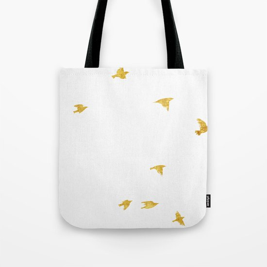 Raven Birds in Gold Copper Bronze Tote Bag