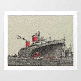 Steam Ship, New York Harbor Art Print