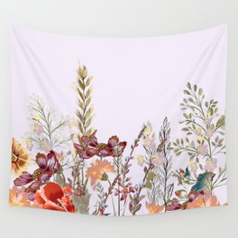 Spring field pattern with poppy and cosmos flowers Wall Tapestry