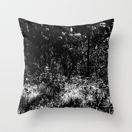Forest mess black and white high contrast abstract plants Throw Pillow