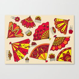 Colorful Fans Red Canvas Print