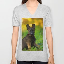Wonderful autumn forest with curious dog puppies Unisex V-Neck