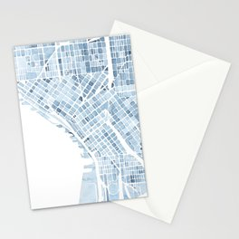Map Seattle Washington Blueprint watercolor map Stationery Cards
