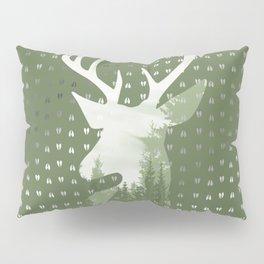 Green Deer Abstract Footprints Landscape Design Pillow Sham