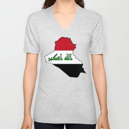 Iraq Map with Iraqi Flag Unisex V-Neck