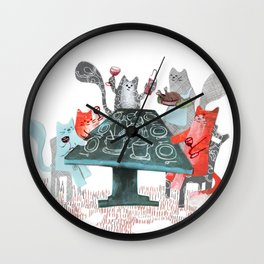 Cat Dinner Party Wall Clock