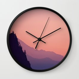 Pink Purple Orange Pastel Colorful Landscape Sunset Cliff Wall Clock