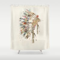 headdress Shower Curtains featuring headdress by bri.buckley