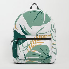 Tropical Pattern Green Gold Backpack