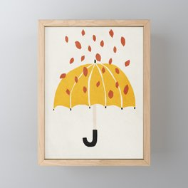 Umbrella, Autumn, Mid century modern kids wall art, Nursery room Framed Mini Art Print