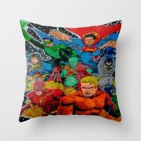 superheros Throw Pillows featuring Heroes Unite by JayKay