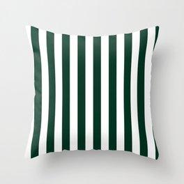 Narrow Vertical Stripes - White and Deep Green Throw Pillow
