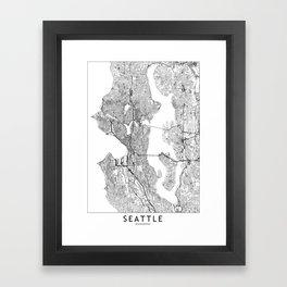 Seattle White Map Framed Art Print