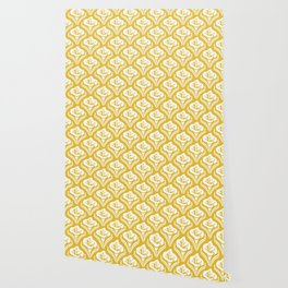 Calla Lily Pattern Mustard Yellow Wallpaper