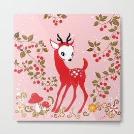 Cute Little Deer under Cherry Tree. Metal Print