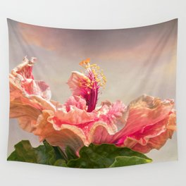isolated hibiscus in bloom on tecture background Wall Tapestry