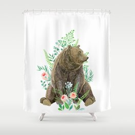 bear sitting in the forest Shower Curtain
