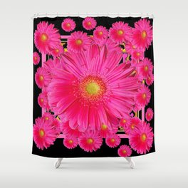 Black & Pink Gerbera Flowers Grey Patterns Art Shower Curtain