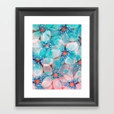 Flowers from Pink to Turquoise Framed Art Print