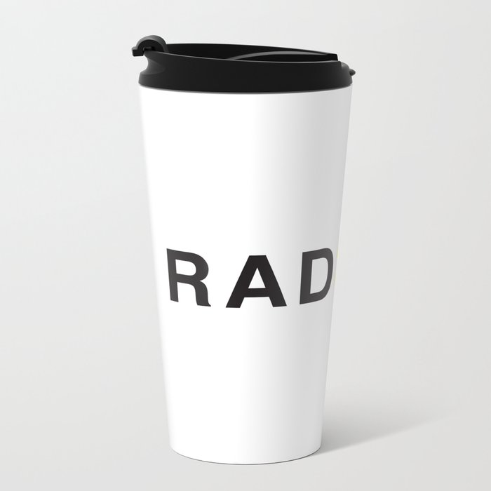 Radical - Black on White Metal Travel Mug