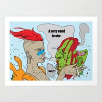 tank girl Art Prints featuring tank girl by Bern