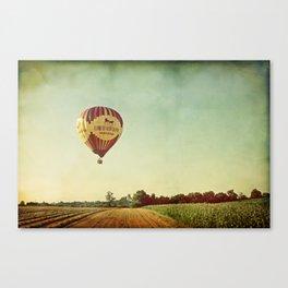 Hot Air Balloon Over Farmland Canvas Print