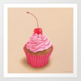 Pink cupcake colored pencil realistic drawing Art Print