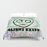 aliens Duvet Covers featuring aliens exist. by Late Bloomer