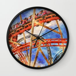 Fun on the roller coaster, close up Wall Clock