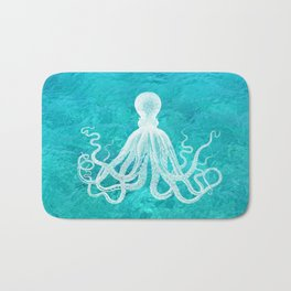 Nautical Decor - Octopus in the Clear Turquoise Water Bath Mat