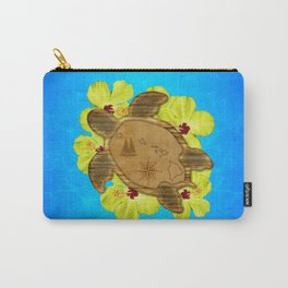 Hawaiian Turtle And Nautical Map Carry-All Pouch