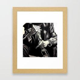 Hands and Bottle Framed Art Print