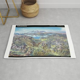 Sky Panorama Map of Yellowstone National Park with label Rug