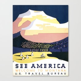 Welcome to Montana Vintage Tourism Poster, WPA, 1938 Canvas Print