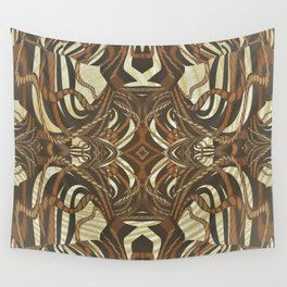 Neo-Tribal Woodwork Mandala Print Wall Tapestry