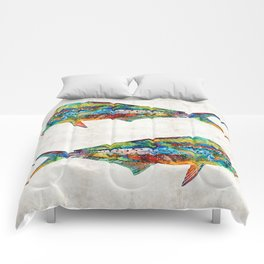 Colorful Dolphin Fish by Sharon Cummings Comforters