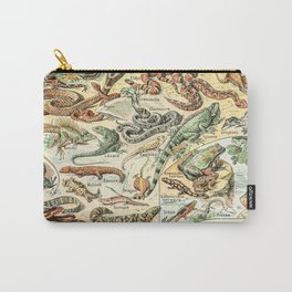 Reptiles II by Adolphe Millot // XL 19th Century Snakes Lizards Alligators Science Textbook Artwork Carry-All Pouch