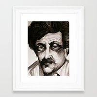 kurt vonnegut Framed Art Prints featuring Kurt Vonnegut by lo defran