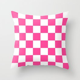 Cheerful Pink Checkerboard Throw Pillow