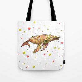 Tangerine Whale Tote Bag